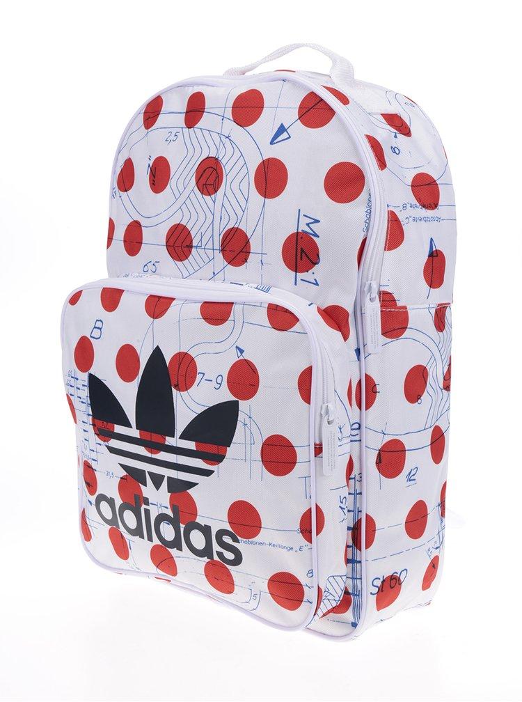 Červeno-bílý puntikovaný dámský batoh adidas Originals