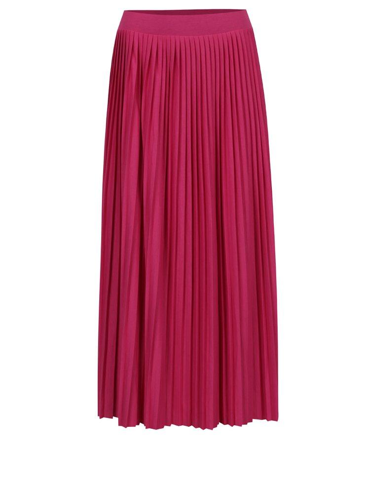 Růžová plisovaná midi sukně VERO MODA Simin