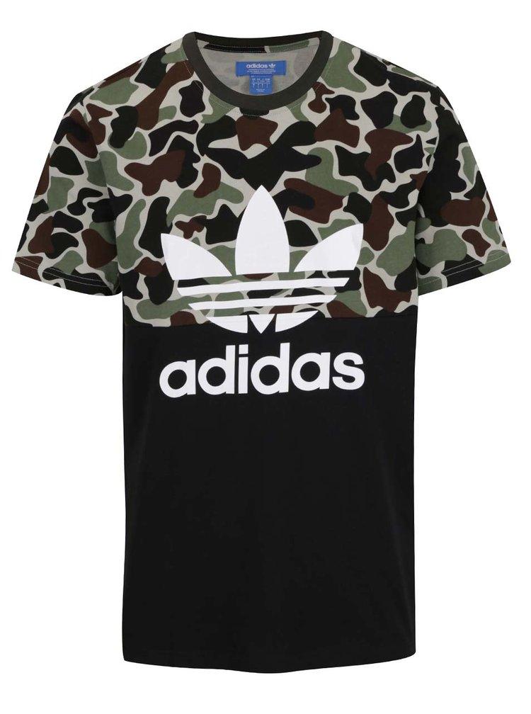 Černé pánské maskáčové triko s krátkým rukávem adidas Originals