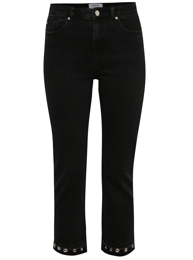 Černé zkrácené strečové džíny s kovovými detaily Miss Selfridge