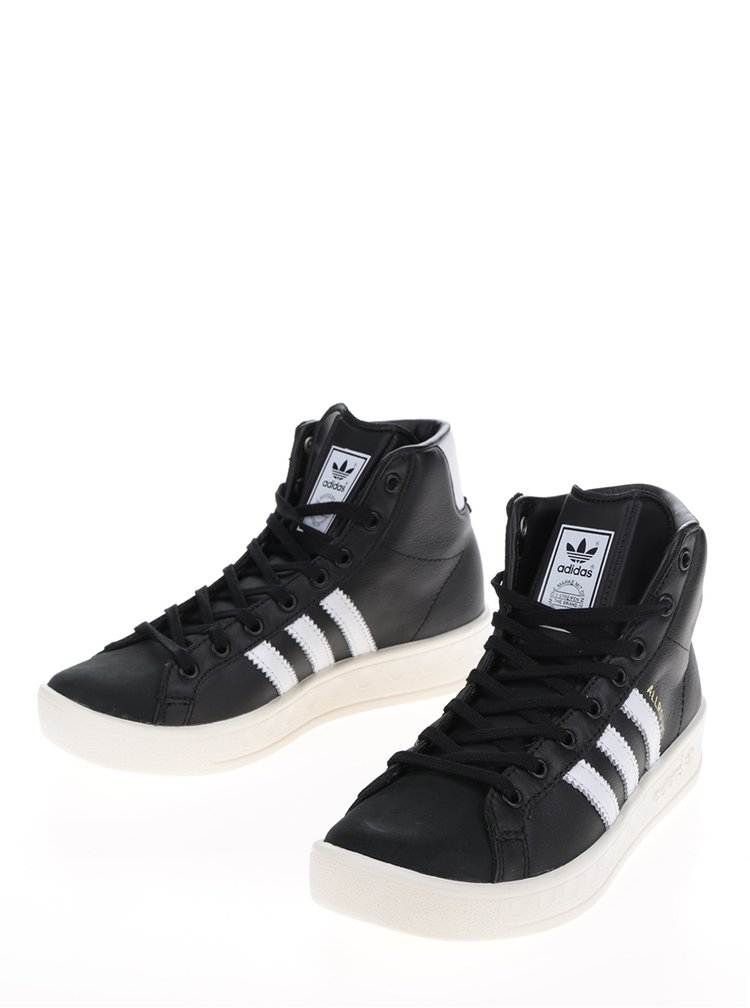 Černé dámské kožené kotníkové tenisky adidas Originals AllRound
