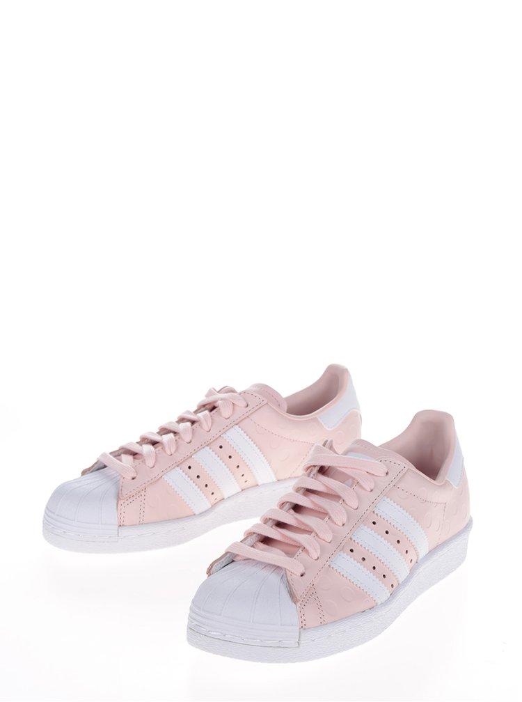 Růžové dámské kožené tenisky na platformě adidas Originals Superstar