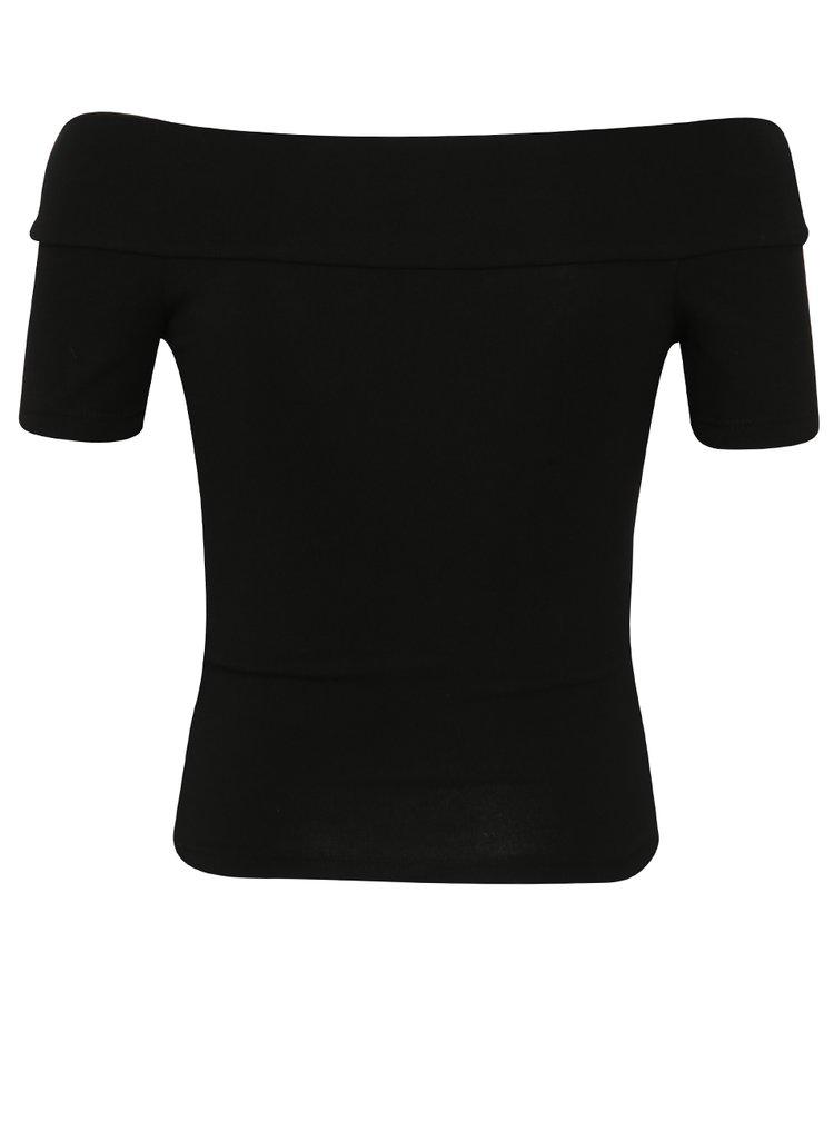 Černé tričko s odhalenými rameny Miss Selfridge