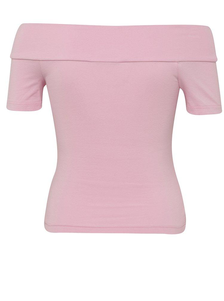 Růžové tričko s odhalenými rameny Miss Selfridge