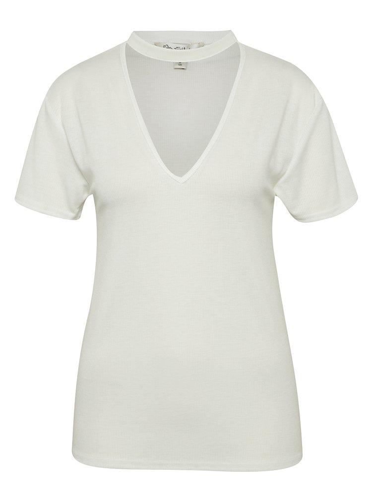 Krémové žebrované tričko s chokerem Miss Selfridge