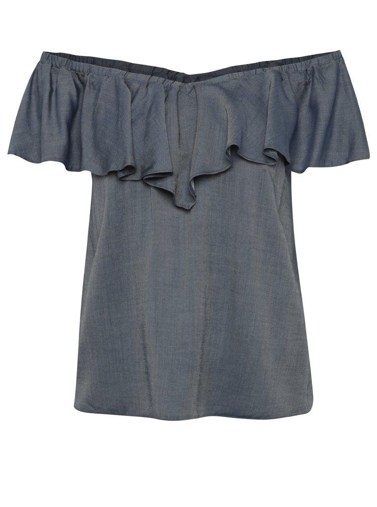 Modrá džínová halenka s odhalenými rameny Miss Selfridge