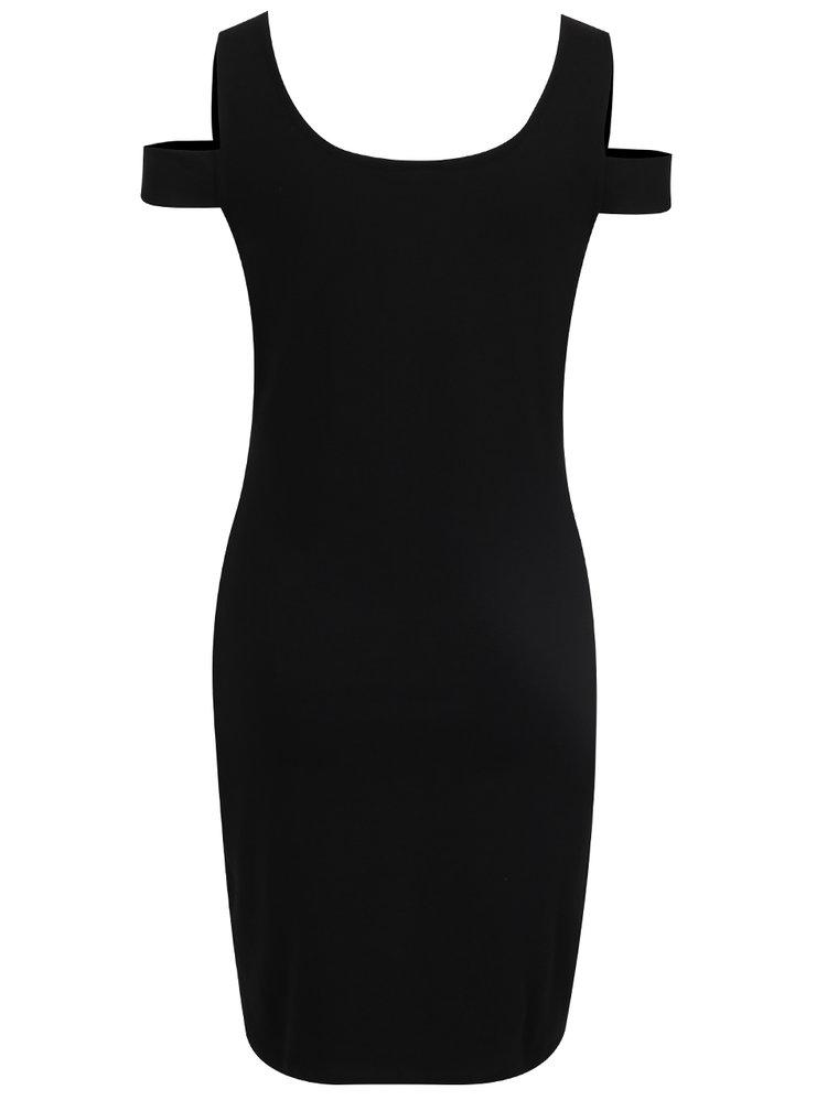 Černé šaty s průstřihy na ramenou Noisy May Laila