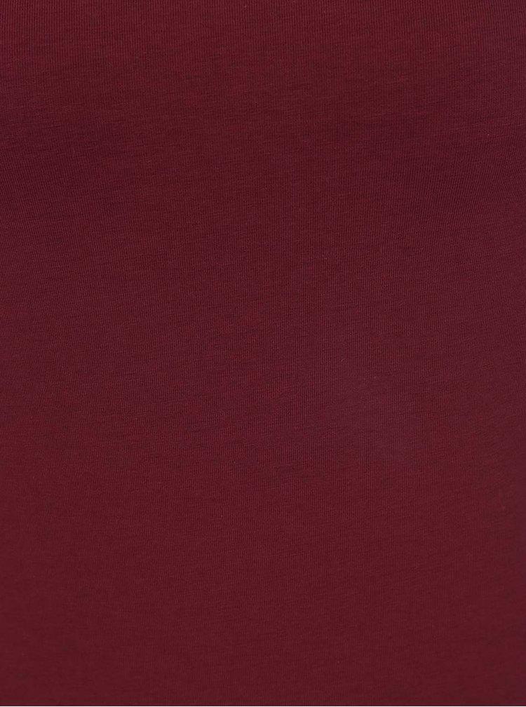 Vínové šaty s průstřihem na ramenou Noisy May Laila