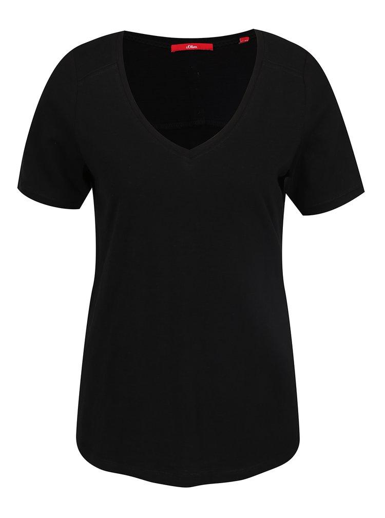Černé dámské tričko s knoflíky na zádech s.Oliver