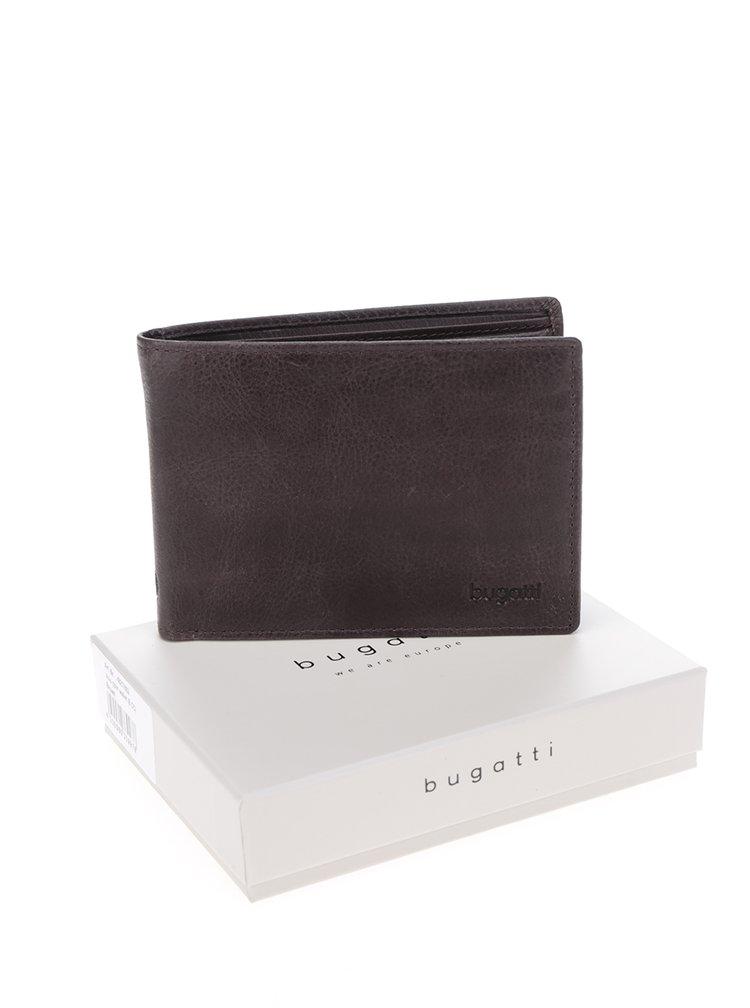 Tmavě hnědá pánská kožená peněženka bugatti