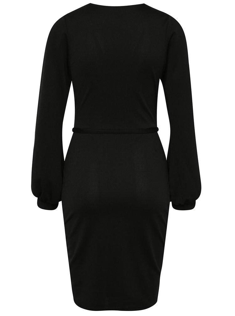 Černé šaty s rozparky na rukávech Miss Selfridge