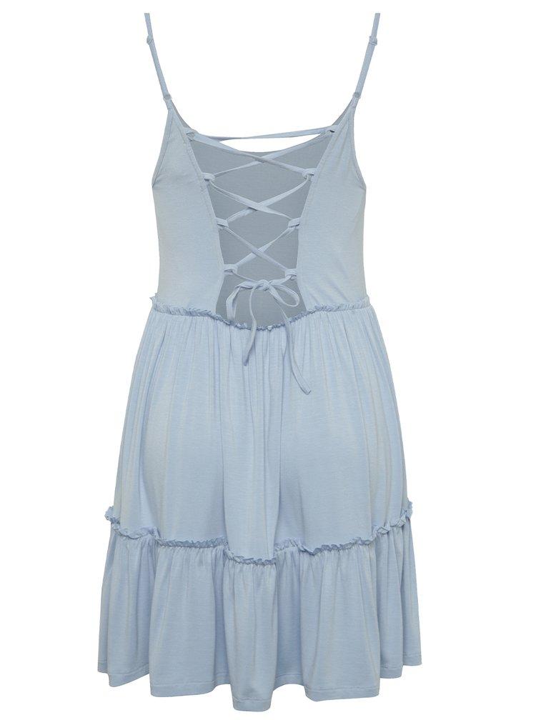 Světle modré šaty na ramínka se šněrováním na zádech Miss Selfridge Petites