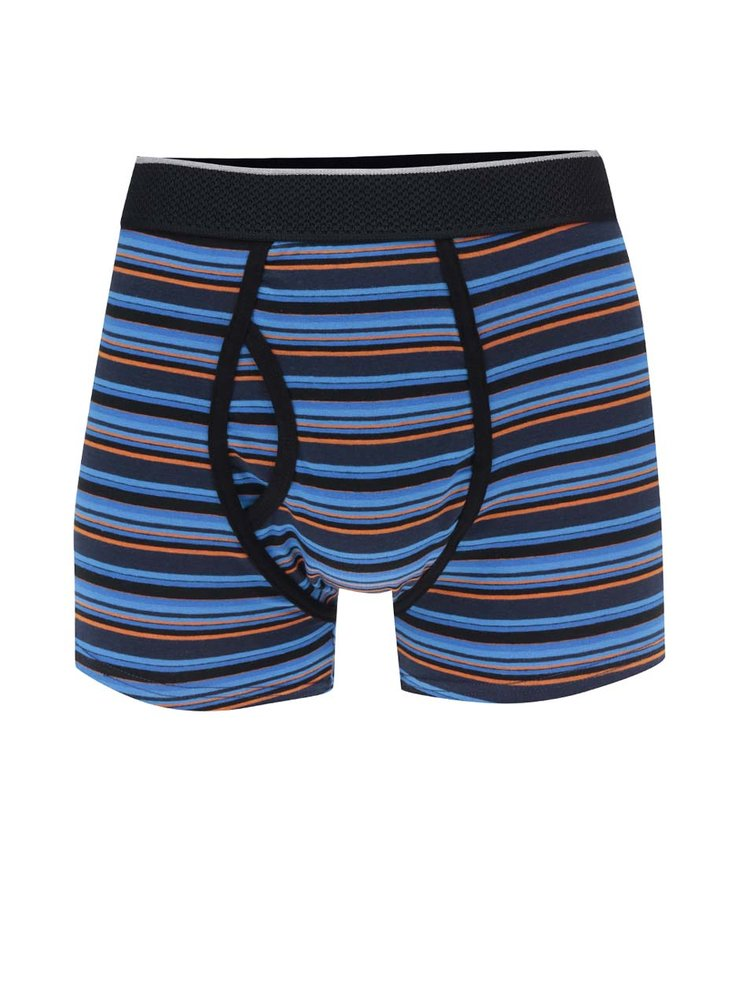 Sada tří vzorovaných boxerek v modré a oranžové barvě Burton Menswear London