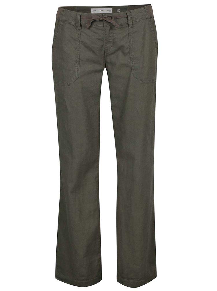 Pantaloni evazati kaki QS by s.Oliver pentru femei