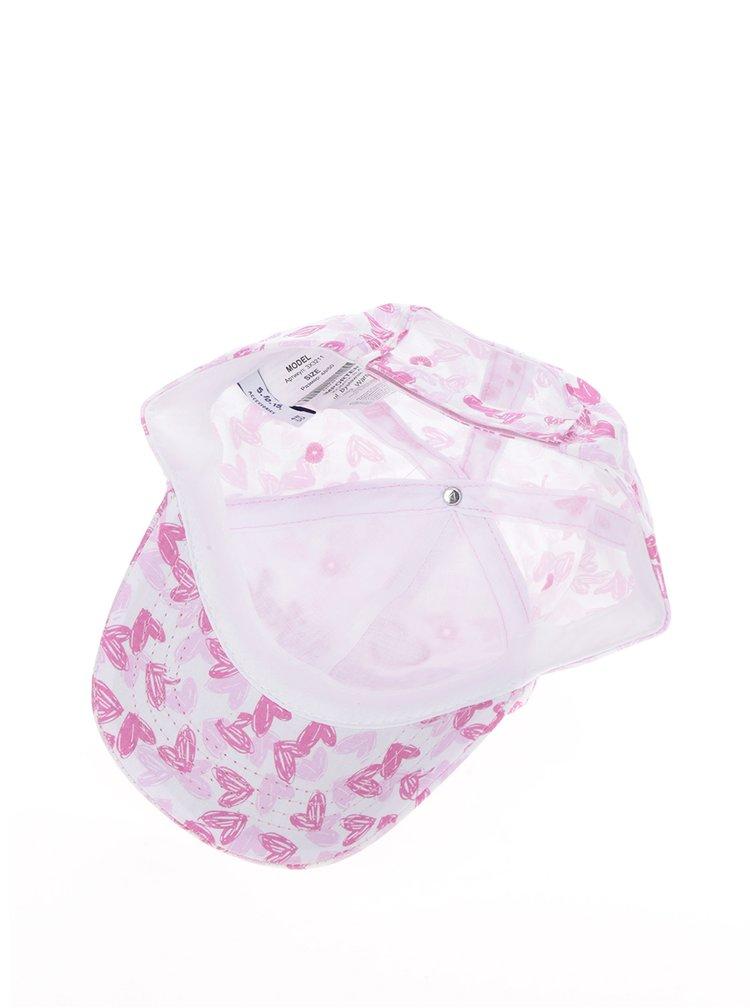 Růžová holčičí kšiltovka se srdíčky 5.10.15.