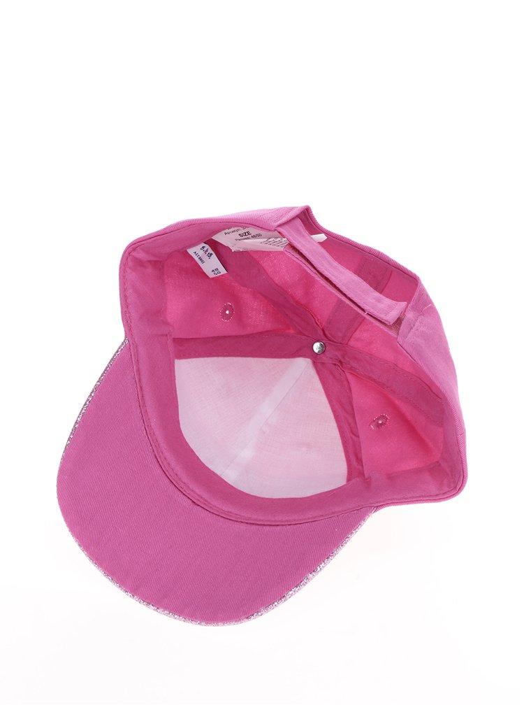 Růžová holčičí kšiltovka s nášivkami a třpytkami 5.10.15.