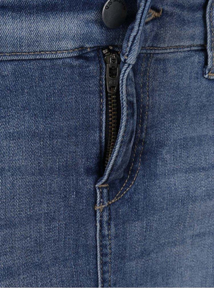 Fustă mini albastră din denim QS by s.Oliver cu efect de uzură