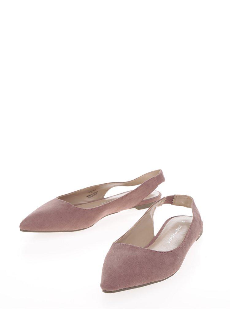 Světle růžové baleríny s otevřenou patou Dorothy Perkins
