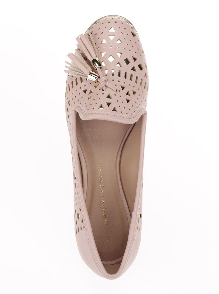Balerini roz pal Dorothy Perkins cu model cu perforații