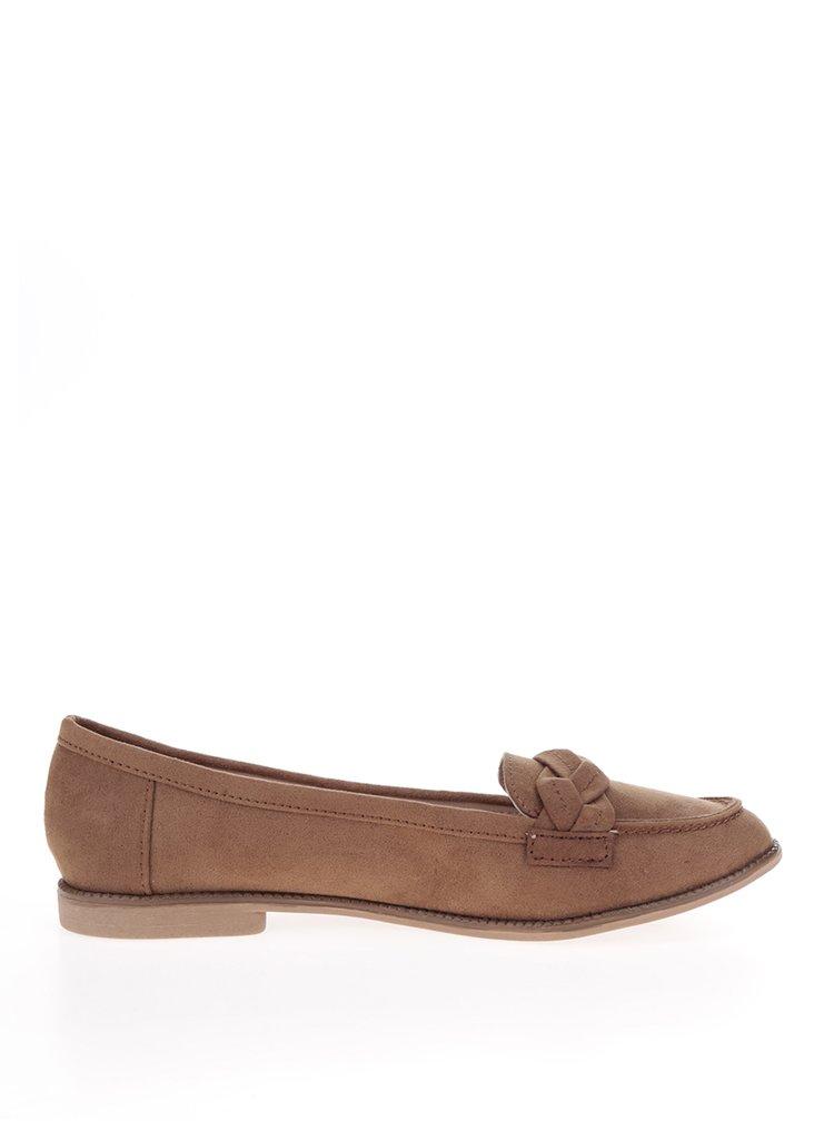 Pantofi loafer maro Dorothy Perkins cu detaliu impletit