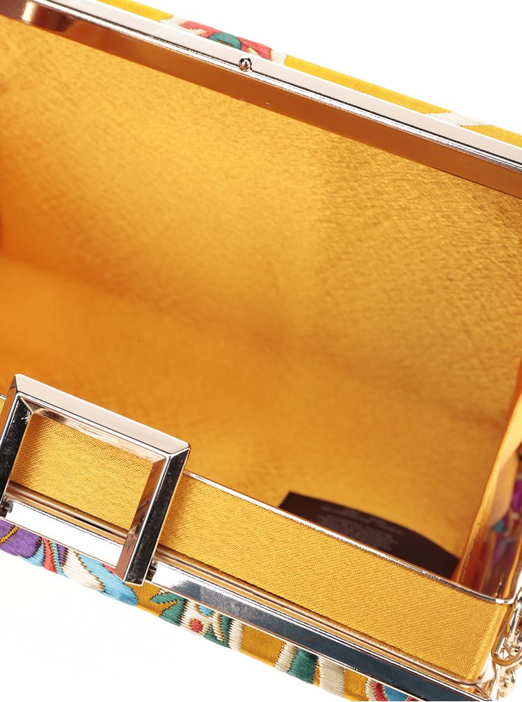 Žluté psaníčko s vyšívaným motivem a detaily ve zlaté barvě Dorothy Perkins