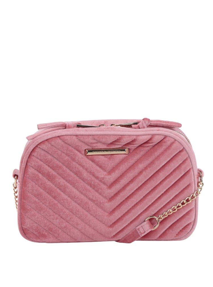 Růžová prošívaná kabelka v semišové úpravě Dorothy Perkins