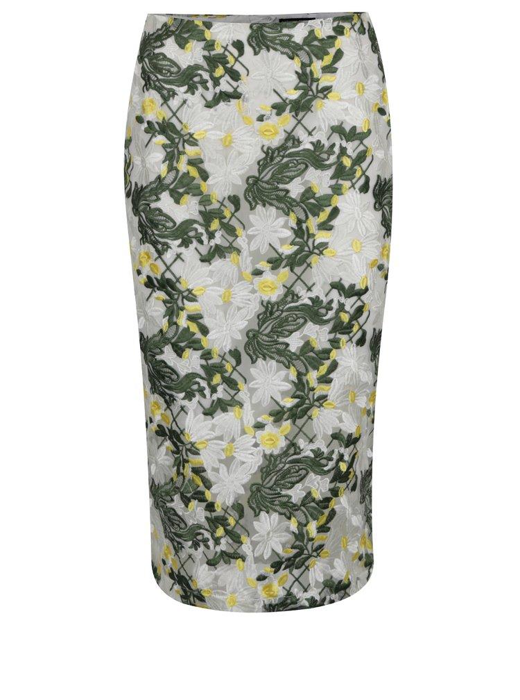 Zelená pouzdrová vyšívaná sukně Dorothy Perkins