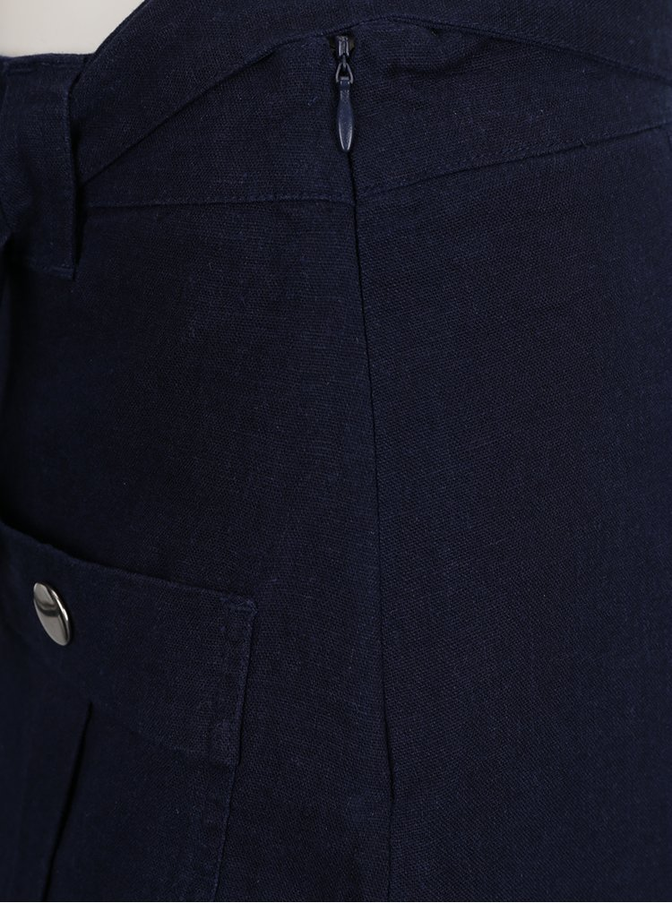 Tmavě modrá lněná sukně s kapsami Dorothy Perkins