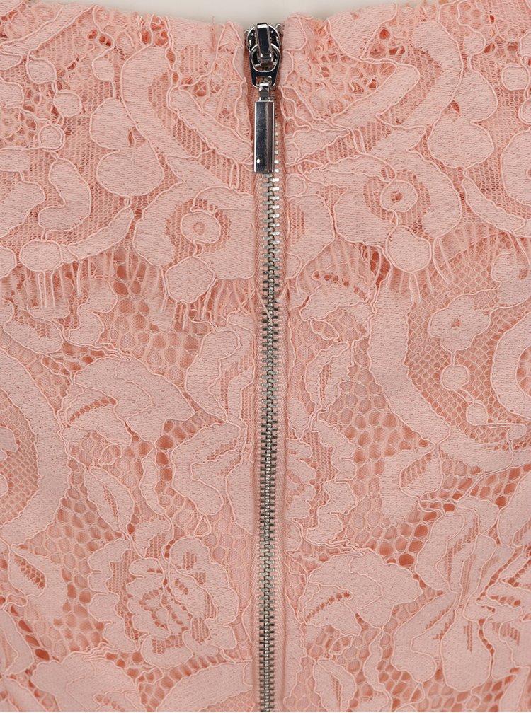 Růžové krajkové šaty s odhalenými rameny Dorothy Perkins Petite