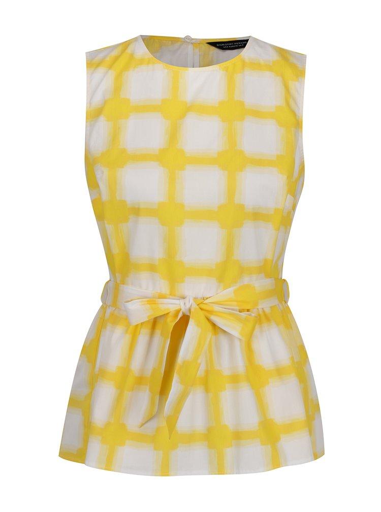 Žluto-bílý vzorovaný top Dorothy Perkins