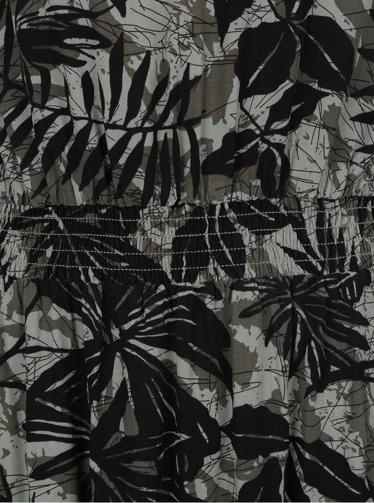 Černo-zelené květované maxišaty QS by s.Oliver
