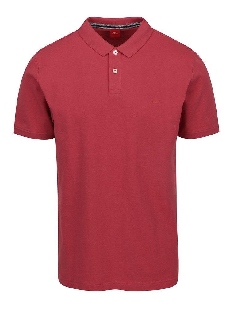 Tricou polo roz închis din bumbac s.Oliver pentru bărbați