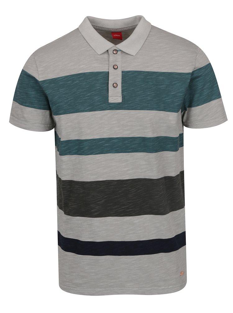 Zeleno-šedé pánské pruhované polo triko s.Oliver