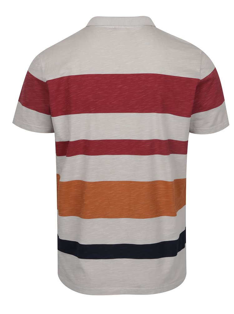 Vínovo-šedé pánské pruhované polo triko s.Oliver