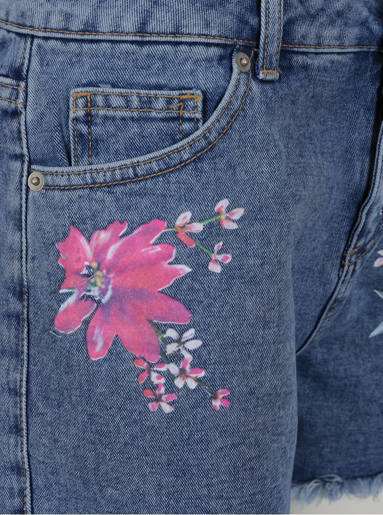 Modré džínové kraťasy s květinovým potiskem Dorothy Perkins