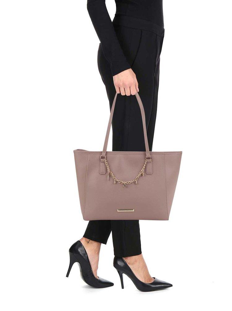 Geanta shopper bej Dorothy Perkins cu detalii aurii