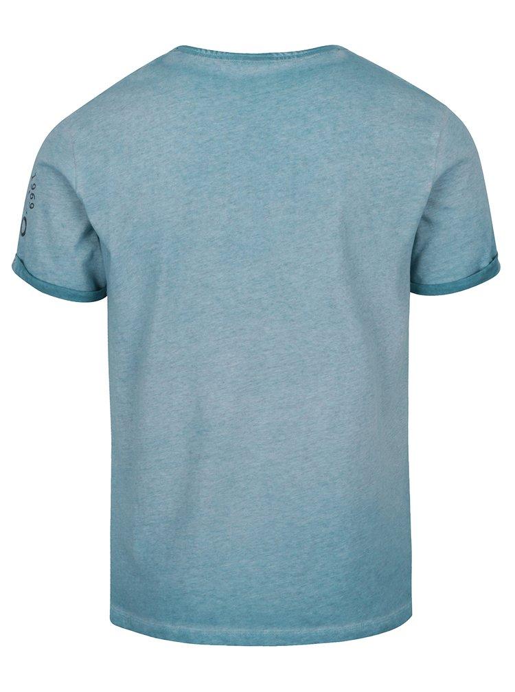 Tyrkysové pánské žíhané triko s knoflíky s.Oliver