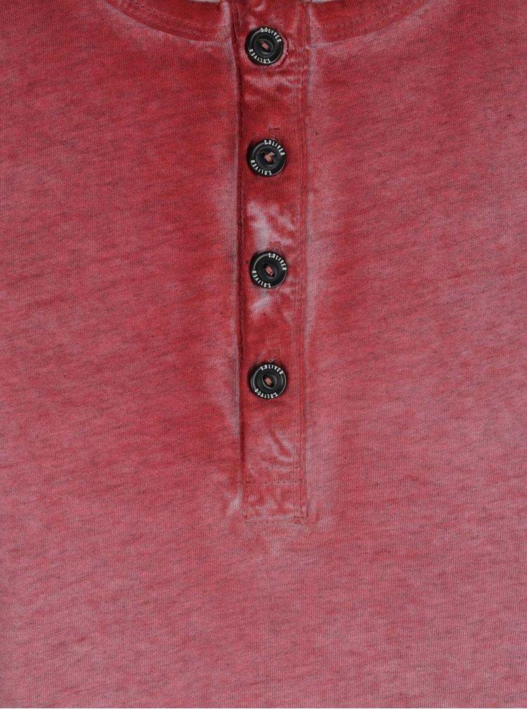 Tricou rosu melanj din bumbac s.Oliver pentru barbati
