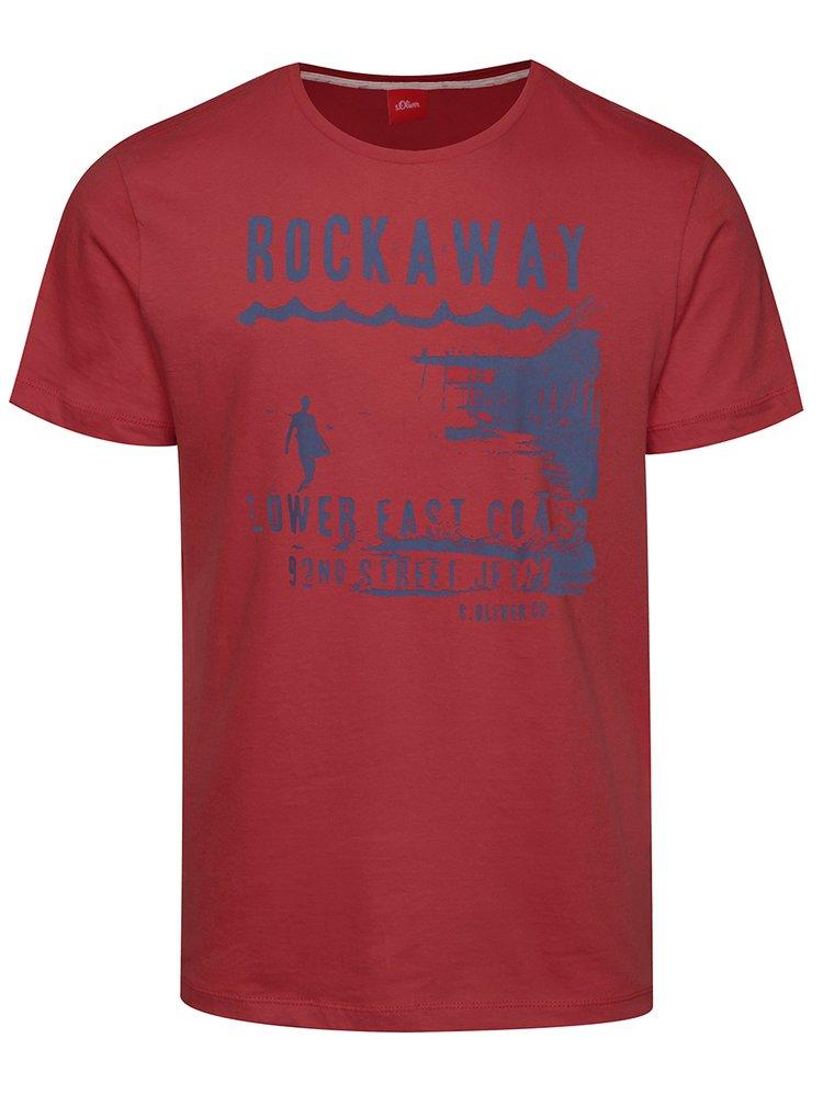 Tmavě růžové pánské triko s modrým potiskem s.Oliver