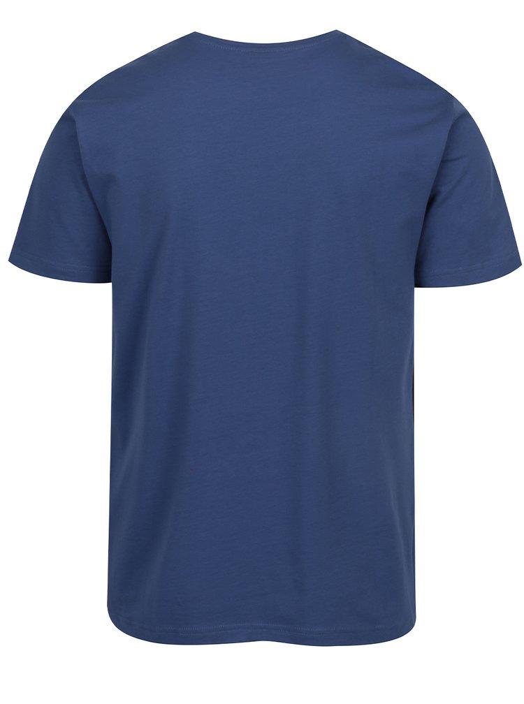 Modré pánské triko s bílým potiskem s.Oliver