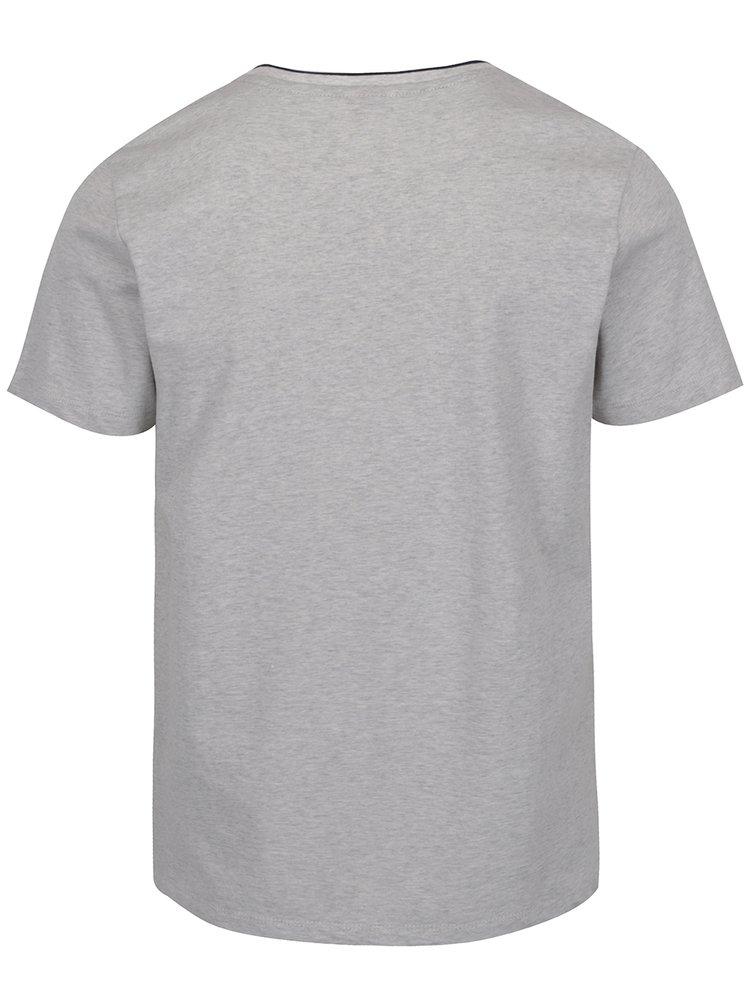 Světle šedé pánské žíhané triko s knoflíky s.Oliver