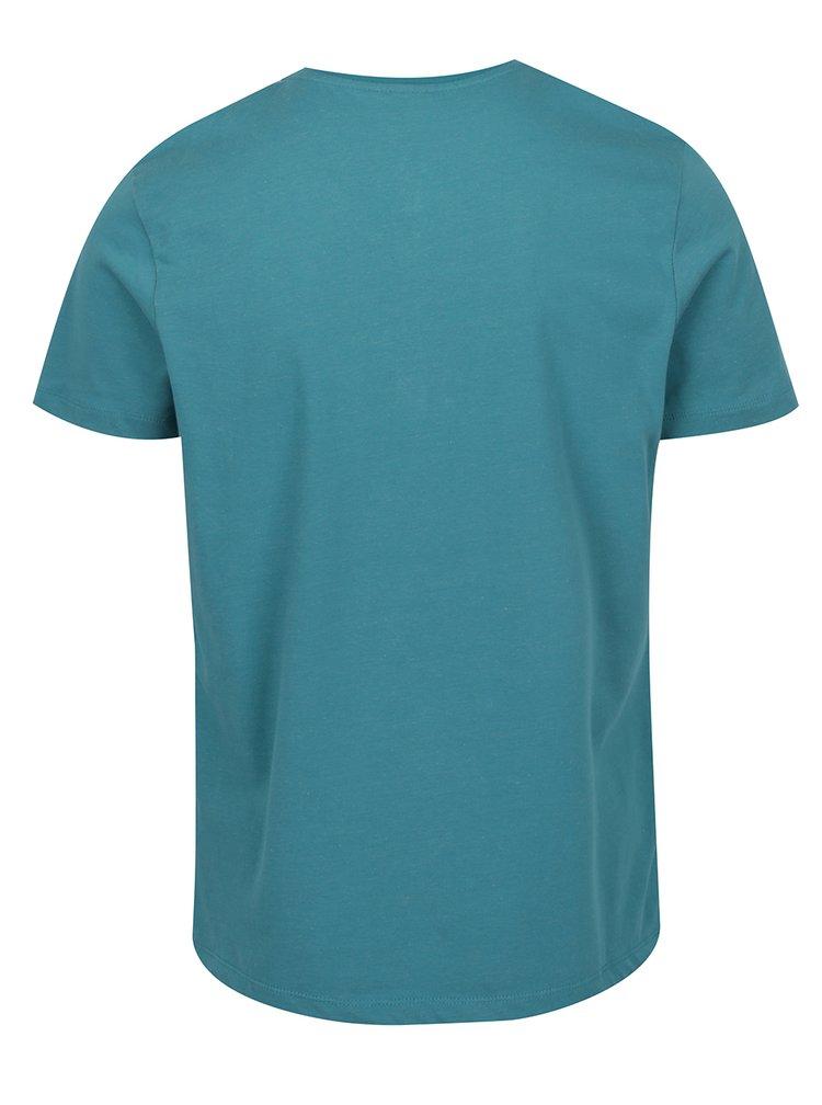 Zelenomodré pánské žíhané tričko s knoflíky s.Oliver