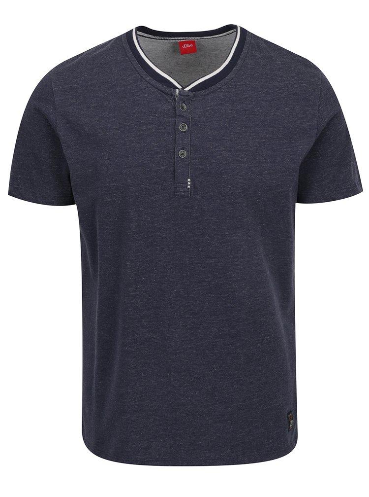 Tmavě modré pánské žíhané triko s knoflíky s.Oliver
