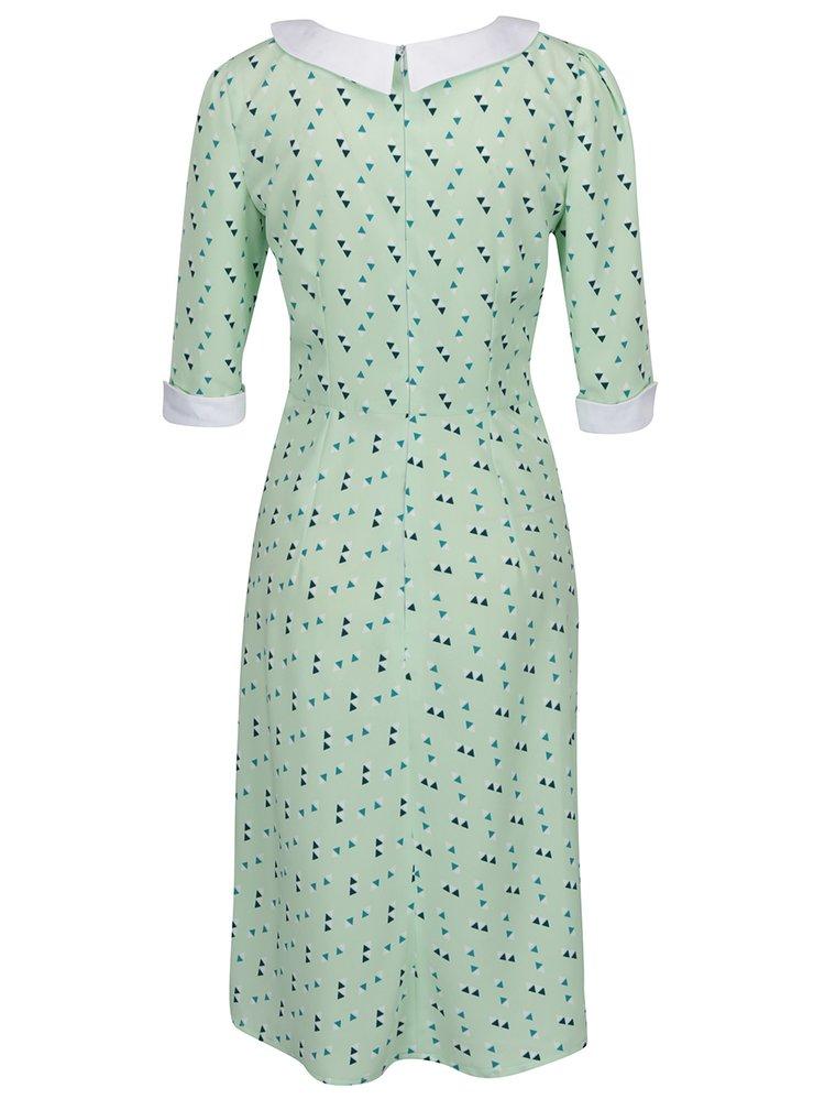 Zelené vzorované šaty s 3/4 rukávem From Kaya with Love Retro