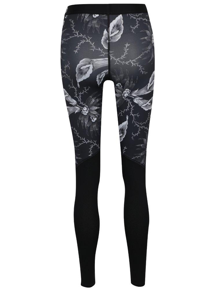 Černo-bílé dámské funkční legíny s potiskem Nike