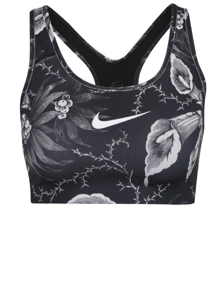 Černo-bílá sportovní podprsenka s potiskem Nike Swoosh