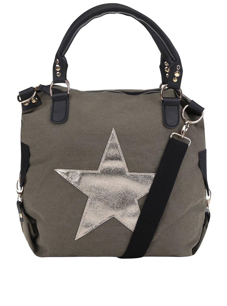 Geanta kaki Haily's Star M cu imprimeu cu stea