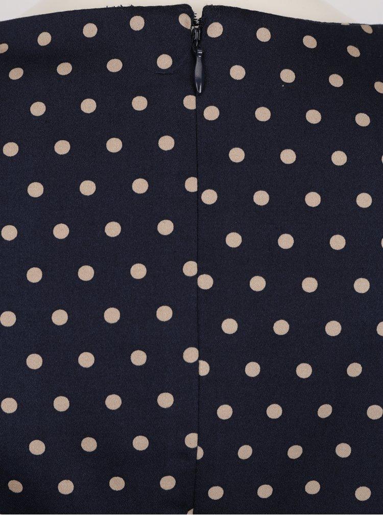 Tmavě modré šaty s krátkým rukávem a puntíky VERO MODA Maya