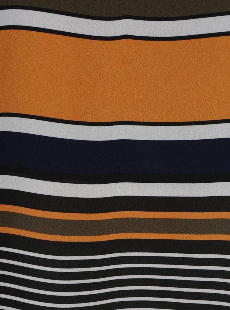 Oranžovo-modrá pruhovaná halenka bez rukávů Dorothy Perkins