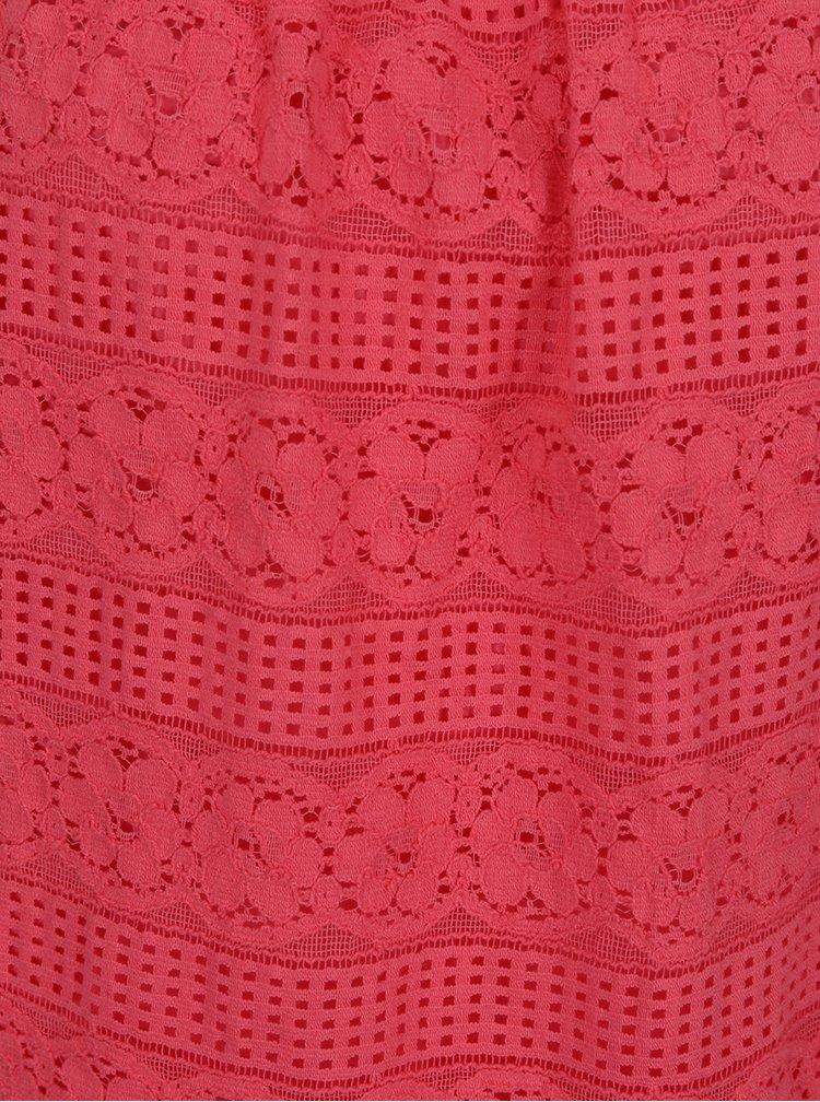 Růžový krajkový top s odhalenými rameny Dorothy Perkins